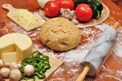 Raw ingredients for pizza